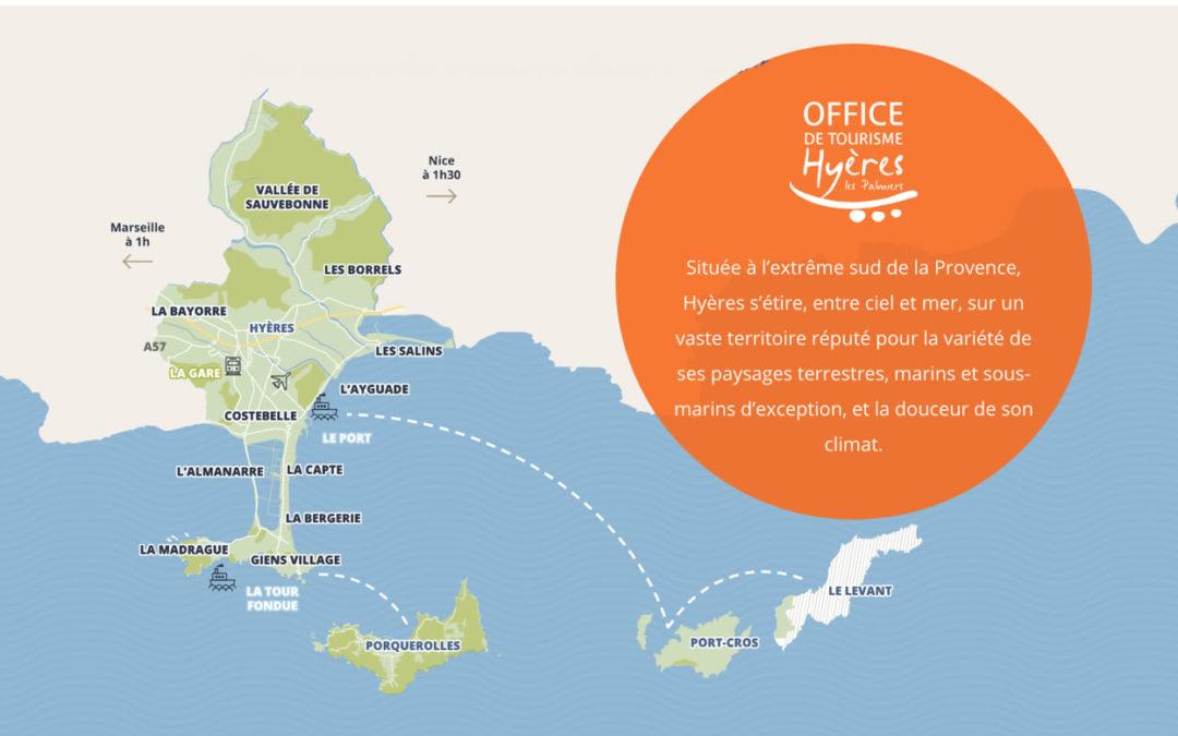 Cette image représente un dessin en plan de Hyères et la presqu'île de Giens. En vert clair et foncé apparaissent les différents sites qui constituent ce territoire : les Salins, l'Ayguade, le quartier de Costebelle, les plages de l'a